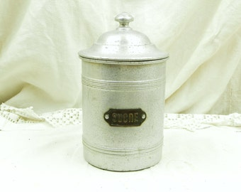 Antique French White Metal Canister / Sucre / Sugar/ French Country Decor / Kitchen / Cottage Chic Retro Vinatge Home Interior Design / Home