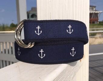 Anchor Belt / Navy and White Belt / Nautical Belt / Sailing Belt / Canvas Belt for Men / Gifts for Dad / Summer Belt /  BeRibbon