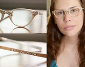 Vintage Tura Gold Cat Eyeglasses 1950s 1960s Cat Eye with silver detail front and arms