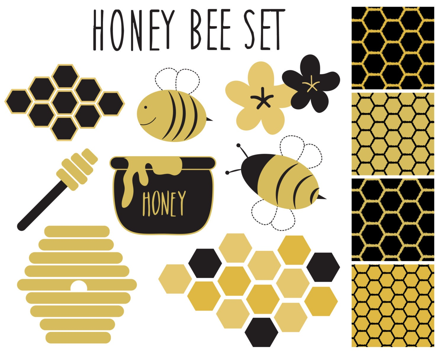 Bees clipart   Etsy