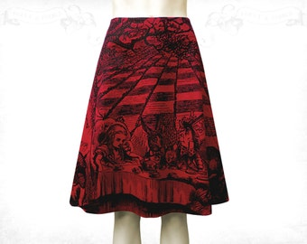 Alice in Wonderland Mad Tea Party cotton flared skirt Red