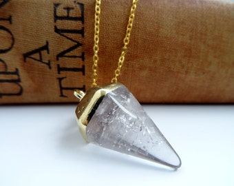 Gemstone Pendulum Point Necklace, Gold Plated, Crystal, Pendulum Point