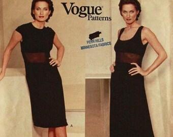 "Dress, Sheer Midriff by Donna Karan- 1990's - Vogue Pattern 1604  Uncut   Size 14-16-18  Bust 36-38-40"""
