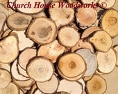 Wood Slices, 100 around 1.5 to 2.5 inch diameter,  eclectic mix, rustic wedding decor, craft pack, wood mosaic, tree slices art, tree cookie