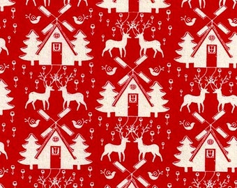 "Quality RED Linen Look Fabric with White CHRISTMAS TREE motif -100% Cotton  44"" Wide - dressmaking decorations-sold by metre or fat quarters"