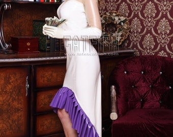 Sexy Woman Rubber Latex Dress with Sweetheart Bust line and Ruffle Train, Beautiful Evening Gown