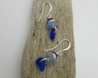 Cobalt Blue Sea Glass Dangle Earrings, Genuine Seaglass, Sterling Silver
