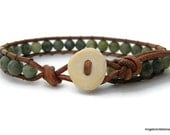 Mens Bracelet Leather Wrap Bracelet Antler Single Wrap