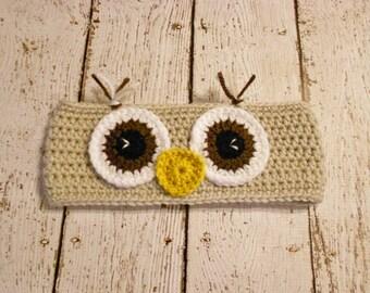 Crochet Owl Earwarmer Headband- 12 Months to Adult