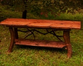 Rustic TV Stand Console Table with shelf Log Cabin Furniture by J. Wade FREE SHIPPING
