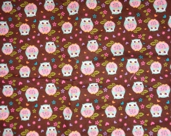 Brown with Pastel Owls Cotton Fabric by the Yard