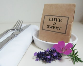 Wedding Favor Bags-Kraft Favor Bags with Kraft Label-LOVE IS SWEET-Unique Wedding Favor-Various Qtys-Wedding Favours-Wedding Decor