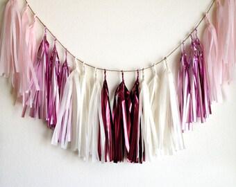 MY ROMANCE - Tissue Paper Tassel Garland  - Party - Wedding - Baby Shower - Nursery