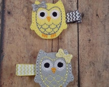 SALE Owl Hair Clips, Yellow and Grey, Felt Hair Clips, Owl Felties - Yellow and Grey Owl Hair Clips, 2pc PAIR - Toddler Girls, Girls Gift