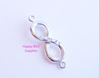 Stunning Sterling Silver Infinity Link with Triple CZ Detail -- 1 Piece