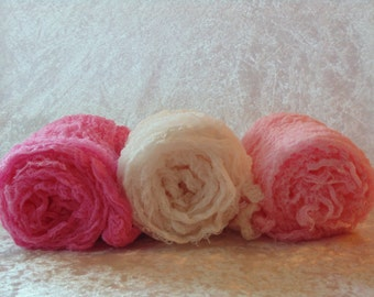 Set of Three Newborn Wraps .  Photo Prop. Baby Photos.Photography Cheesecloth.  Handyed cheesecloth.