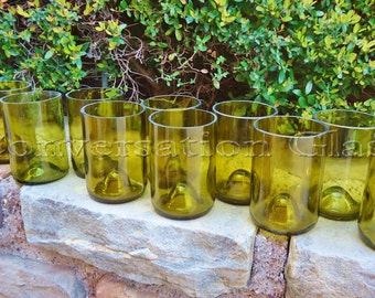 Wine Bottle Glasses in Chartreuse made from Yellow Wine Bottles 12oz  Set of 12
