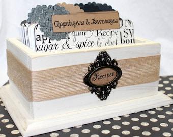 RECIPE BOX, Dividers, Recipe Cards, Black, Ivory and Burlap, Neutral Recipe box, Distressed Ivory Box