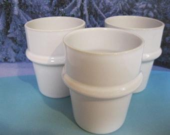 Hoganas Keramik, White Cups, Made in Sweden, Three Sturdy Ringed Tumblers