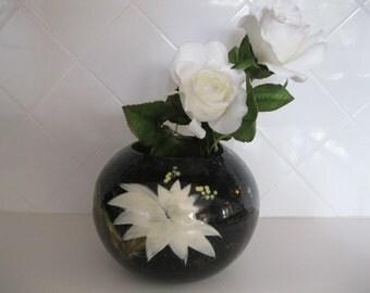 Hedi Schoop California,Black Globe Vase, Bowl, Planter with White Cactus Flowers