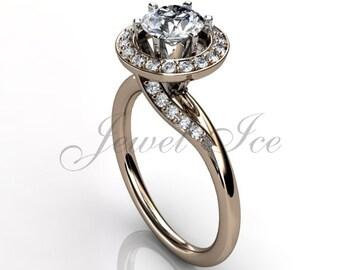 14k rose gold diamond engagement ring, bridal ring, wedding ring, anniversary ring ER-1029-3