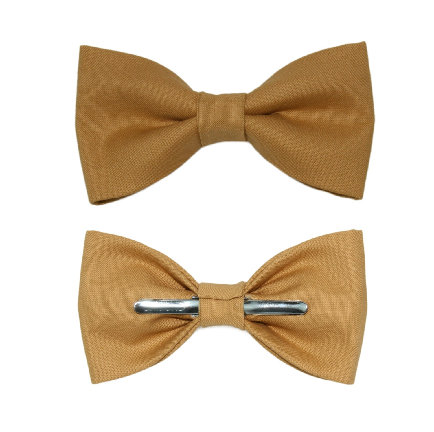 Honey Brown Clip On Cotton Bow Tie Choice Of Men's Or