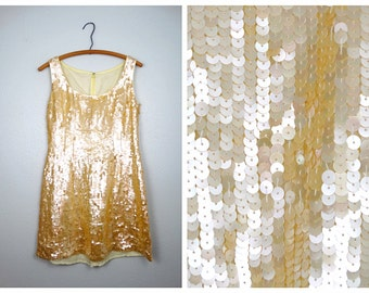 Pearlized Sequin Mini Dress • Fully Embellished Ivory Cream Vintage Dress L
