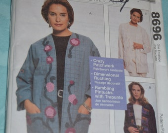 McCalls 8696 Misses Lined Jacket Sewing Pattern - UNCUT- Size Sm - XLg