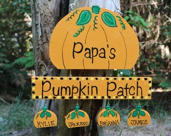 Grandfather pumpkin patch sign with personalized hanging grandchildren