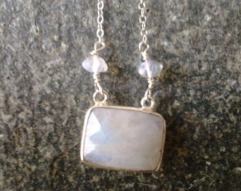 sterling silver facteted moonstone bezel semiprecious gemstone necklace