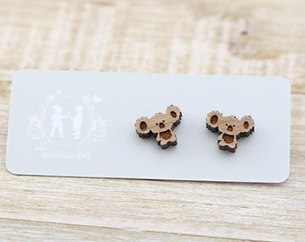 Wood Koala - Laser Cut Stud Earrings