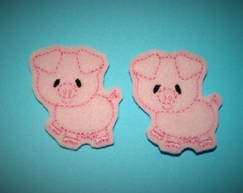 Set of 2 Pig Feltie Felt Embellishments