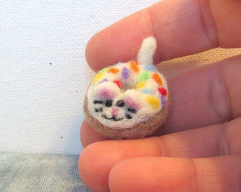 Miniature Needle Felted Donut Cat with Multi-Colored Sprinkles!