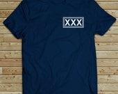 Straight Edge T Shirt Navy XXX Hardcore SXE Punk DIY Screen Printing