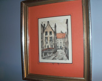 Antique Framed Matted European Village Belgium Brugge Print Drawing Etching