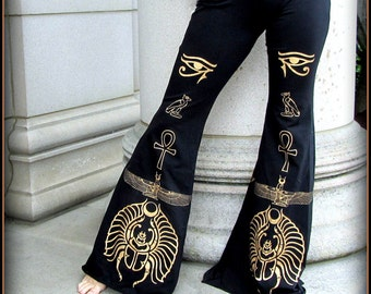 Flared Belly Dance Pants ~ Goddess Isis Egyptian Eye ~ Burning Man Festival Hooping Flare Bell Bottoms ~ Witchy Occult Egypt Ecstatic Dance