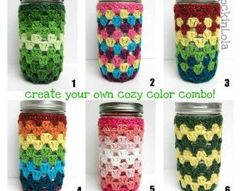 mason jar cozy - non-slip mason jar sleeve - made in your color choice- ball pint and a half - 24oz - coffee cozy - handmade by RockinLola