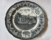 "Copeland Spode ECKHART HALL University of Chicago Black Transferware 10.5"" Plate, dated 1931"