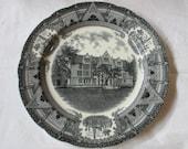 "Copeland Spode ECKHART HALL University of Chicago Black Transferware 10.5"" Plate, dated 1931"
