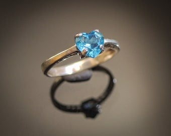 Natural 1.10ct Swiss Blue Topaz Ring, Faceted Sky Blue Topaz Ring Sterling Silver ring, Aqua Blue Topaz, Topaz Gemstone Ring