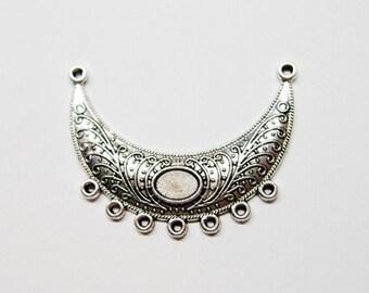 3 Antique Silver Focal Pendant Connectors, Great for Necklaces