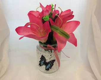 Decorated Floral Jars with Flowers and Butterfly ideal for Wedding table or Celebration