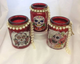 Day of The Dead Decorated Jars (price for 1 Jar)
