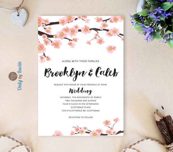 Cheap Cardstock For Wedding Invitations : Cherry Blossom Wedding Invitations Pink wedding invitations cheap ...