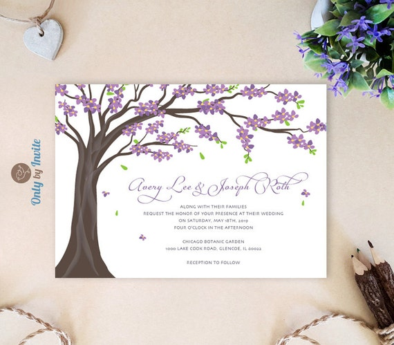Cheap Cardstock For Wedding Invitations : Purple Wedding Invitations cheap Tree wedding by OnlybyInvite