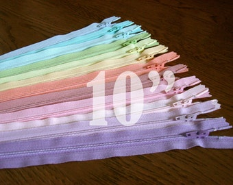 10 inch zippers ykk zippers pastel zippers nylon zippers colorful zippers 10 inch zips 12 ykk zips wholesale zippers sampler pack zipper