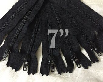"7"" zippers ykk zippers nylon zippers black zippers wholesale zippers sampler pack zipper 7 inch ykk zippers - 25 pieces"