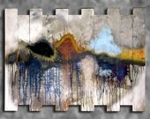 Painted Wooden Abstract Distressed Pallet Board Art Original Acrylic Sculpture Modern Upscale Home Decor Large Wall Art AVAILABLE 46x34
