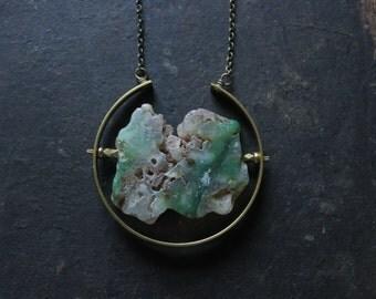 Chrysoprase necklace,raw emerald necklace gold,emerald pendant necklace brass geometric statement necklace emerald jewelry bohemian jewelry