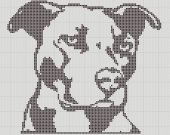 Pit Bull Staffy Silhouette Small Cross Stitch Pattern 1 Color Easy PDF Pattern
